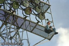 Forest fan @ Peterborough 93/94 climbing the floodlight to watch us clinch automatic promotion back to the Premiership.