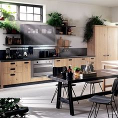 Kitchen Diesel - Social Kitchen - Scavolini The materials are aged thanks to a special treatme. Interior Design Living Room, Kitchen Interior, Kitchen Dining, Kitchen Decor, Dining Room, Kitchen Craft, Kitchen Flooring, Küchen Design, House Design