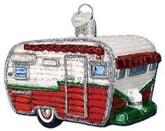 Travel Trailer Glass Ornament | Old World Christmas Ornaments | Camper Ornament | Camping Ornament