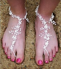 In place of shoes! So pretty    http://www.weddingclan.com/beach-wedding-shoes-7-beautiful.html