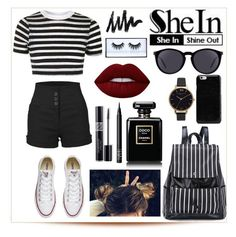 """SheIn outfit"" by melaninqueenbrii ❤ liked on Polyvore featuring Topshop, LE3NO, Converse, Yves Saint Laurent, Maison Margiela, Olivia Burton, Lime Crime, NARS Cosmetics, Christian Dior and Huda Beauty"