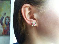 Sterling silver earrings, Roses earrings, Floral earrings, Silver stud earrings, Dainty studs, Embroidered earrings, Petit point jewelry by SlivkAtelier on Etsy