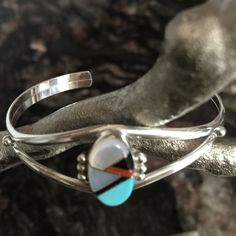 """FINALSterling Silver Cuff Bracelet Dainty oval turquoise, onyx, coral, & mother of pearl cuff bracelet, embellished with 3 sterling silver balls above & below. Inside circumference measures 5"""" plus 1"""" gap = 6"""", & can be adjusted slightly. Total inside circumference corresponds more or less to wrist size. Jewelry Bracelets"""