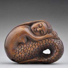 Craft Wood Boxwood Japanese Sculpture Signed Carving Netsuke Nude Mermaid Statue