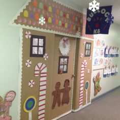 Winter door decorating idea for an elementary school classroom. Gingerbread house door decoration.