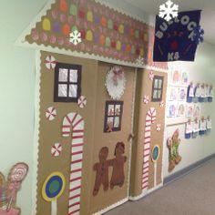 Winter door decorating idea for an elementary school classroom. Gingerbread house door decoration.