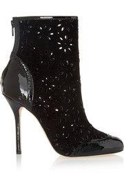 Oscar de la RentaNaomi laser-cut suede and patent-leather boots