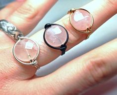 Healing Rose Quartz Ring - Wiccan Jewelry - Wire Wrapped Energy Ring - Unique Made to Order on Etsy, $10.00