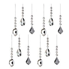 Add dazzling sparkle and shine to your Christmas tree with these beautiful crystal ornaments. The pieces dangle sweetly beneath three smaller round beads to bring style and beauty to your home.