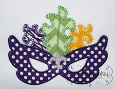 Mardi Gras Mask Fler De Lis Embroidery Design by theappliquediva
