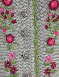 Trachtenjacke für Damen, grau - Strickjacke Angelina | Dirndltopia