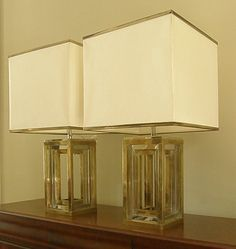 Pair of Romeo Rega Lamps Silvered Metal and Brass by VetiverHome
