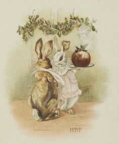 Advent Day 2: Beatrix Potter's bunnies enjoy the festive season. From Potter's first published book, A Happy Pair, 1890. https://www.jonkers.co.uk/…/7705/a-happy-pair/beatrix-potter