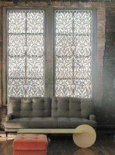 "Delia Shades - Delia Shades' Custom Solar Shades in ""Tulip Arabesque"" pattern -"