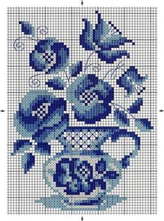 Blue Flowers in a Blue Vase Cross Stitch Cards, Cross Stitch Borders, Modern Cross Stitch Patterns, Counted Cross Stitch Patterns, Cross Stitch Designs, Cross Stitching, Cross Stitch Embroidery, Butterfly Cross Stitch, Cross Stitch Rose
