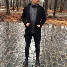 #turtleneck and black #coat by @lukasscepanik7 [ www.RoyalFashionist.com ]