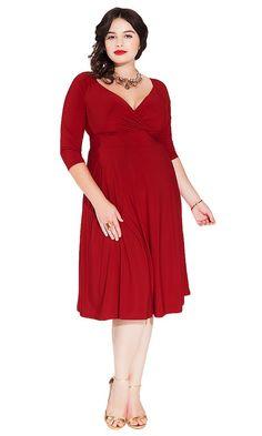 IGIGI Women's Plus Size Francesca Dress in Dark Red at Amazon Women's Clothing store: