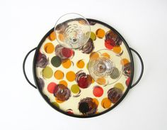 1950s French vintage SERVING TRAYcolorful polka by LeFrenchBazaar