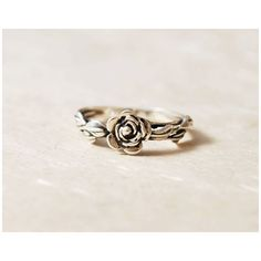 Unique Promise Ring For Her, Leaves Ring, Flower Ring, Nature Inspired... ($60) ❤ liked on Polyvore featuring jewelry, rings, flower engagement ring, leaf engagement ring, flower jewellery, blossom jewelry and leaves jewelry