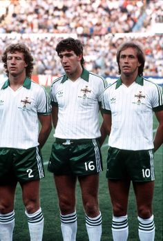 Jimmy Nicholl, Norman Whiteside, Sammy McIlroy -Northern Ireland 1982 FIFA World Cup Group