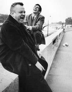 Orson Welles and Anthony Perkins on the set of The Trial, 1962