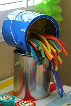 Twizzlers in rainbow colors...kids art party