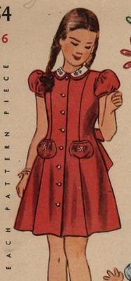 1940s Girls Princess Line Peter Pan Collar Dress Pattern Size 6 Transfer   eBay