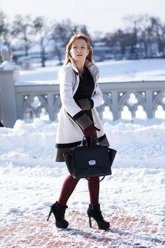 BŁOGO | skórzana sukienka i biały płaszcz | ~ MISS FERREIRA