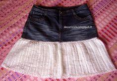 decoriciclo: Refashion jeans: da pantalone a gonna, con l'uncinetto