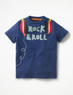 Just the ticket for little musicians, our T-shirts feature appliqué instruments and funky embroidery details. The smooth jersey fabric is cotton and stays soft against skin wear after wear – now that's a performance. Just add jeans and get rocking! Polo Shirt Outfits, Boy Outfits, Summer Outfits, Boys T Shirts, T Shirts For Women, Diy Sweatshirt, Boys Pajamas, T Shirt Painting, Summer Boy