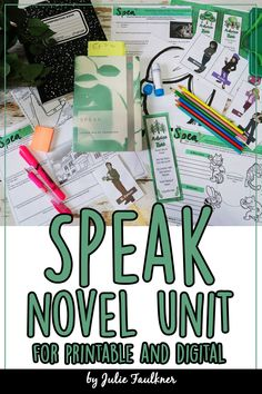 Speak Novel Unit for Digital and Printable, Remote Learning  This complete unit plan for Anderson's novel Speak is designed to help you teach this amazing young adult book from beginning to end with challenging, creative, standards-based, and real-world activities. These low-prep activities and lessons were years in development from my direct study of this novel with my students. There is so much variety here.