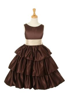 50910ed60c brown bubble tiered flower girl dress with champagne sash Boys Tuxedo