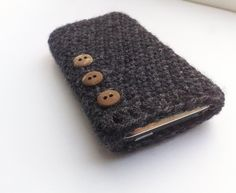 Charcoal crochet iPhone case with button by theknitpearlboutique