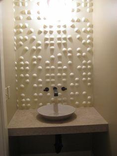 Braille wall in Powder room via Gordian's Knot LLC Winona, MN