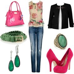 Green and pink, created by #lilcaro121 on #polyvore. Love the colors