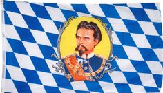 Bavarian flag with King Ludwig II