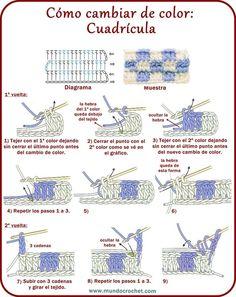 Cambio de color en crochet: Cuadrícula - Mundo Crochet - Teresa Restegui http://www.pinterest.com/teretegui/ ✔: