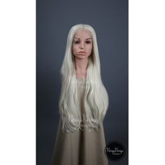 White Blonde Wig Long Straight Lace Front Wig Fashion Daenerys Costume... ($92) ❤ liked on Polyvore featuring costumes, grey, unisex adult clothing, party halloween costumes, queen costume, womens costumes, masquerade costumes and adult women costumes
