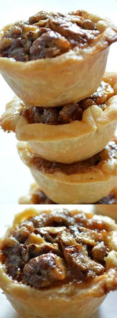 These Mini Pecan Pies from House of Yumm make the PERFECT mini treat for the holidays! They may be small but that's ok because they have a huge pecan pie taste. Mini Desserts, Pecan Desserts, Pecan Recipes, Just Desserts, Baking Recipes, Cookie Recipes, Delicious Desserts, Dessert Recipes, Yummy Food