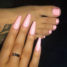 Nail art is a very popular trend these days and every woman you meet seems to have beautiful nails. It used to be that women would just go get a manicure or pedicure to get their nails trimmed and shaped with just a few coats of plain nail polish. Pink Acrylic Nails, Acrylic Nail Designs, Pink Toe Nails, Violet Nails, White Nails, Short Pink Nails, Acrylic Toes, Pink Acrylics, Stiletto Nails