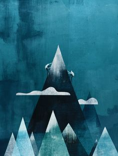 Gorgeous Mountain print in hues of blue - perfect for your bathroom or bedroom. Climb mountains every day of your life.