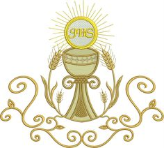 Machine Embroidery Designs at Embroidery Library! Corpus Christi, Altar Design, Première Communion, Altar Cloth, Easter Religious, Holy Cross, Machine Embroidery Applique, Kirchen, Cross Stitch
