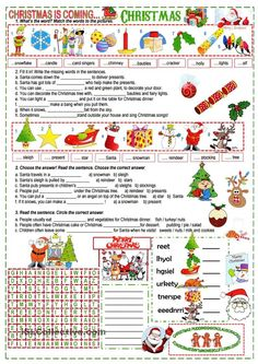 There are 3 texts about Christmas to complete with the given words, it is a good way to practise the vocabulary students learnt about Christmas. You may find it useful too. Have a nice day and Merry Christmas to all of you! English Christmas, Merry Christmas To All, Christmas Is Coming, Kids Christmas, Xmas, English Class, English Lessons, Teaching English, Learn English