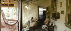 Outdoor rooms, cane furniture with big cushions. Bohemian Porch, Boho Home, Bohemian Decor, Outdoor Rooms, Outdoor Living, Outdoor Retreat, Outdoor Areas, Outdoor Decor, Cozy Nook