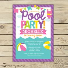 Girl Pool Party Birthday Printable Party Invitation by Stockberry Studio