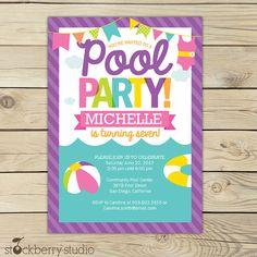 Pool Party Birthday Invitation Printable Pool por stockberrystudio
