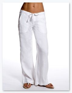 I have been looking for a pair of these...white linen pants.....they looks so summery and relaxed