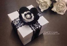 The classic box favour created in white with black lace and a black & white handmade rose!  These are stunning! ❤️ www.cutncreate.com http://facebook.com/CutnCreate