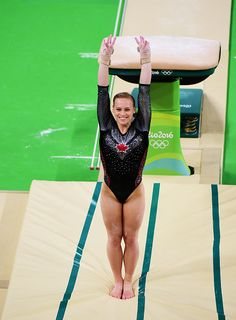 #RIO2016 Elsabeth Black of Canada competes on the vault during the Women's Individual All Around final on Day 6 of the 2016 Rio Olympics at Rio Olympic Arena...