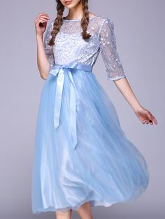$28.94 See-Through 1/2 Sleeve Embroidery Dress